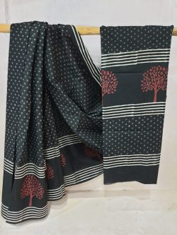 Summer wear black and Blush Pure Cotton mulmul saree with blouse