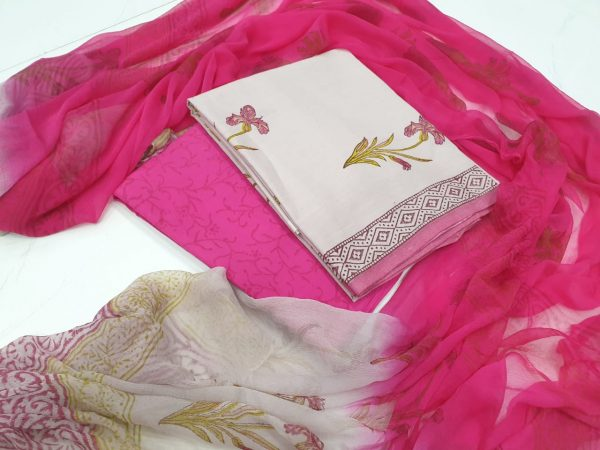 Jaipuri Cerise and Beige cotton salwar suit set with chiffon chunni for ladies