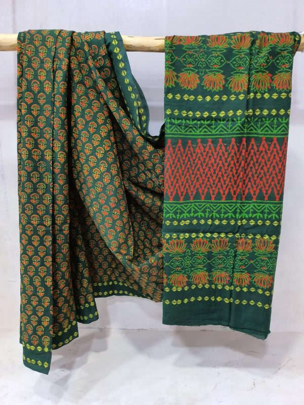 Erin and Viridian Cotton mul mul saree with blouse