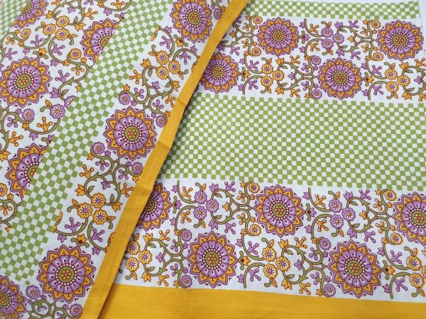 Yellow and white Cotton bedsheet for double bed