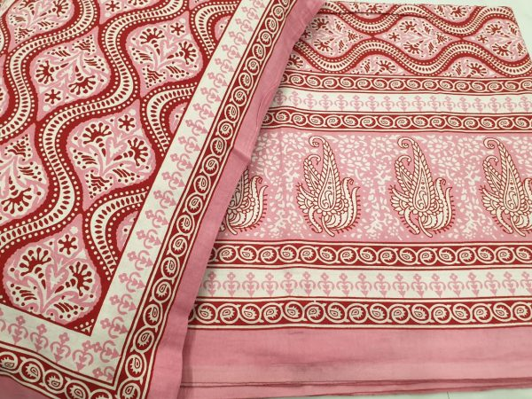 Pink and white Cotton bedsheet for double bed