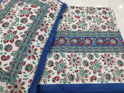 Aquamarine and White Cotton Double bedsheet with 2 pillow cover