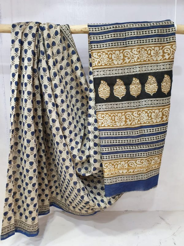 Blue and Beige Chanderi silk saree with blouse