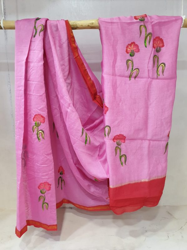 Pink and Amaranth Silk chanderi saree with blouse