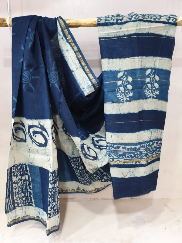 Navy blue and white chanderi silk saree  print for ladies