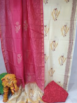 Partywear Pink and White chanderi silk suit with cotton bottom