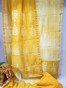 Yellow and White Chanderi suit dupatta for ladies