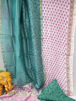 Teal and Pink chanderi silk suit with cotton bottom