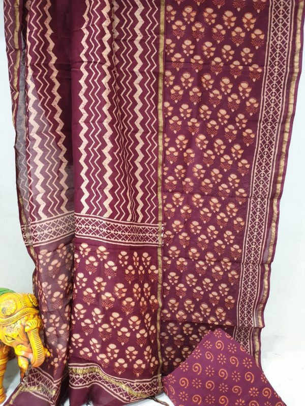 Burgundy and Champagne chanderi silk suit with cotton bottom