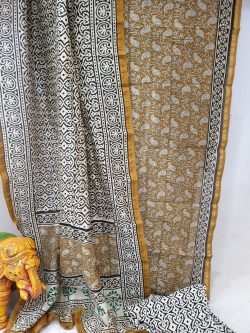 Partywear Bronze and white chanderi silk suit with cotton bottom