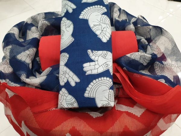 Daily wear Red and blue Chiffon dupatta cotton suit