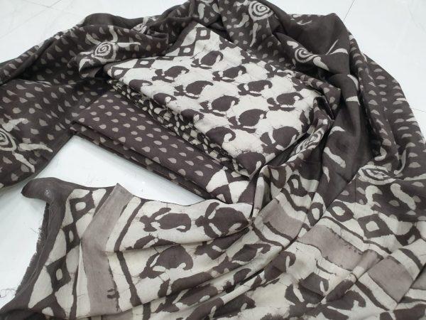 Black and white Cotton mulmul dupatta suit