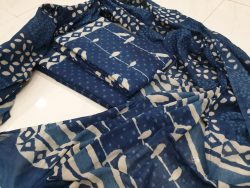Mulmul dupatta suit color Blue and white