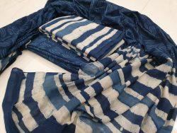 Prussian blue and white Cotton mulmul dupatta suit