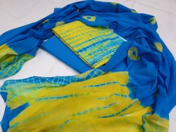 Cyan and yellow Cotton salwar kameez set with mulmul dupatta for ladies