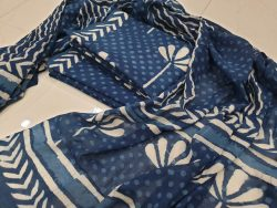 blue and white Cotton suit set with pure cotton mulmul dupatta