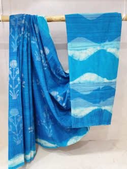 Regular wear Azure and cyan Cotton mulmul saree with blouse