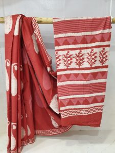 Summer wear Harvard Crimson and White cotton mulmul saree with blouse