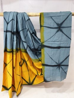 Summer wear Yellow and slate gray cotton saree with blouse