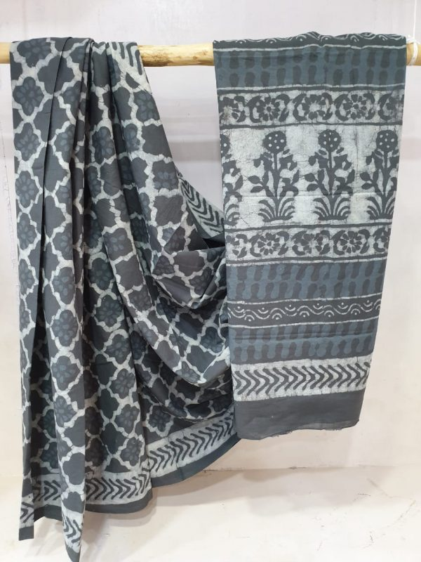 Summer wear Slate gray  Pure mal mal saree with blouse