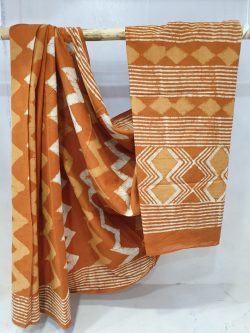 Summer wear Bronze and Copper Canyon Light Pure mal mal saree with blouse