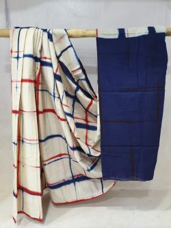 summer wear White and blue cotton saree with blouse