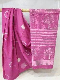 Regular wear Pink and white cotton mulmul saree with blouse