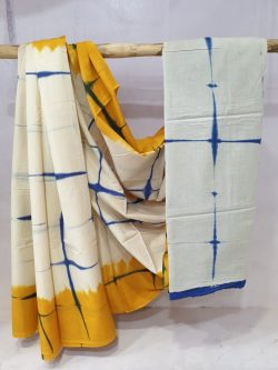 Regular wear Yellow and White Cotton saree with blouse