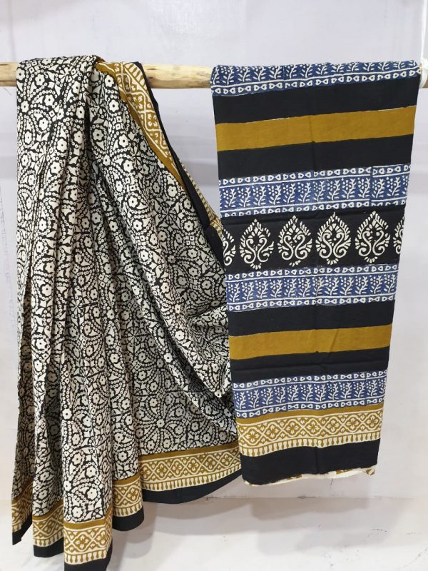 partywear black and Blue Cotton mulmul saree with blouse