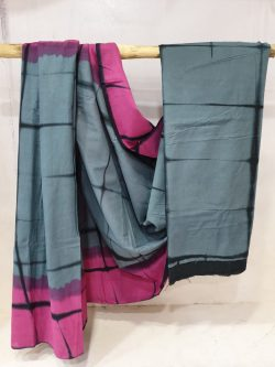 Regular wear Pink and slate gray Cotton saree with blouse
