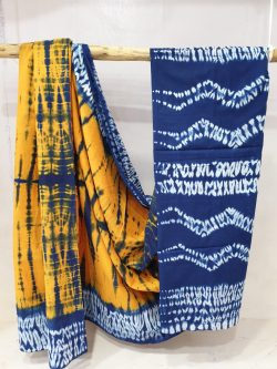 Summer wear Amber and Blue cotton mulmul saree with blouse