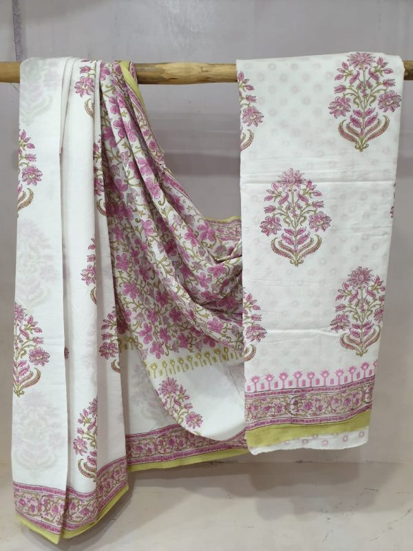 White and Orchid daily wear cotton saree with blouse