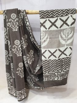 Daily wear Slategray and White cotton mulmul saree with blouse