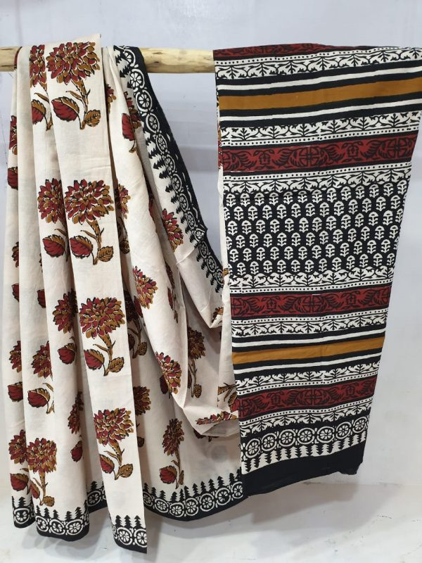 Summer wear Beige and Black cotton mulmul saree with blouse
