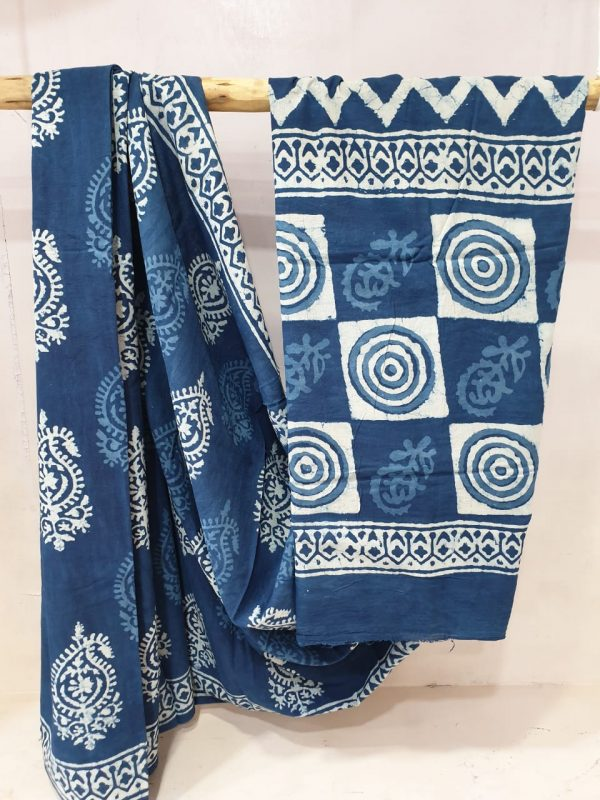 Summer wear Blue and White cotton mulmul saree with blouse