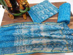Azure and White kota doria dupatta and cotton bottom