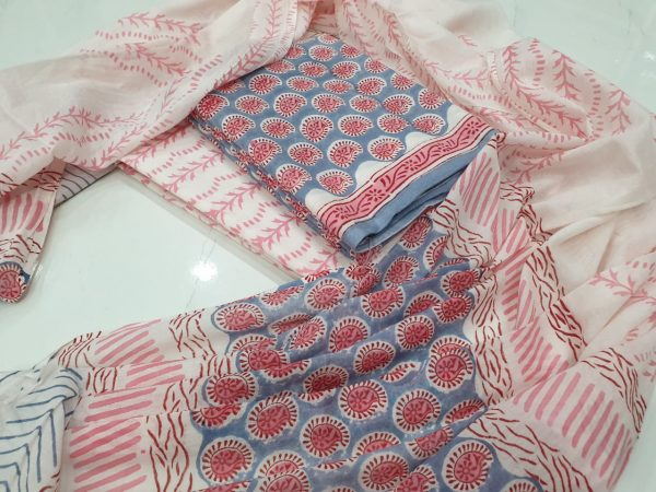 Blush and white Cotton salwar suit with mulmul dupatta