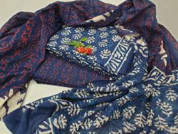blue and white Cotton salwar kameez set with mulmul dupatta for ladies