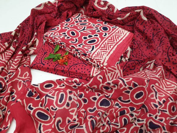 Red and white Cotton salwar kameez set with mulmul dupatta
