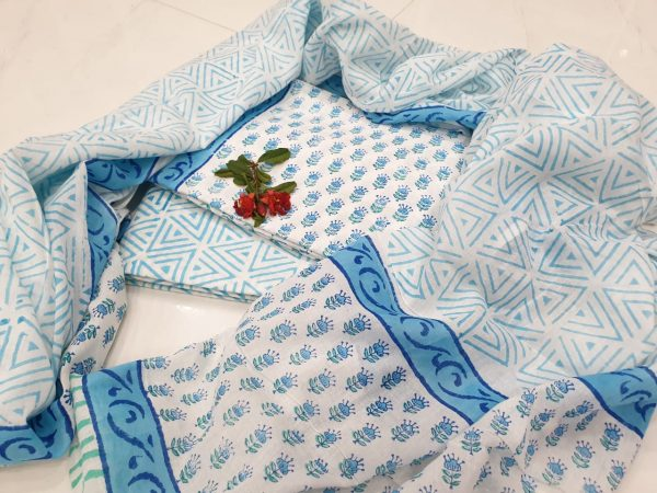 Baby blue and white Cotton salwar kameez set with mulmul dupatta