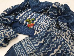 Blue and white Cotton salwar kameez set with mulmul dupatta