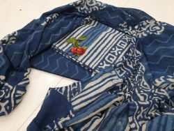 Blue and white Cotton mulmul dupatta suit for ladies