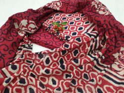 Red and white Cotton mulmul dupatta suit for ladies