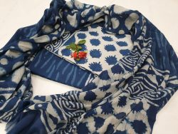 blue and off white Cotton salwar suit with mulmul dupatta