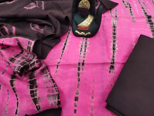 pink and Seal Brown Mulmul dupatta suit