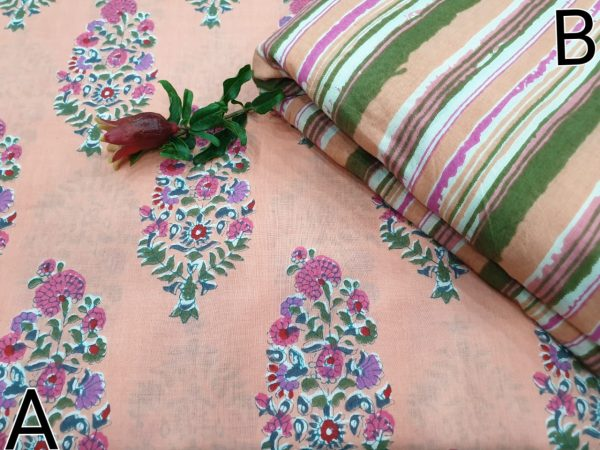 Apricot and Pink Running materiel cotton Mugal print