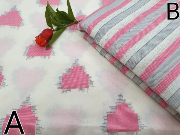 Pink and white Running material cotton mugal print