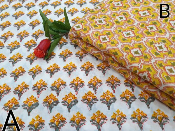 Yellow and white Running materiel cotton Rapid print