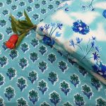 Baby blue and white Running materiel cotton dress materiel for ladies