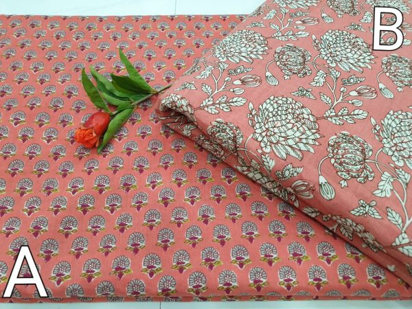 Salmon and White Running materiel cotton Rapid print